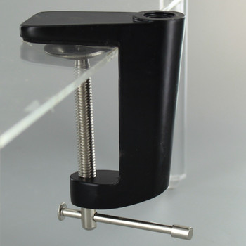 Black Powdercoated Desk and Table Clam Threaded for 1/8ips. Pipe