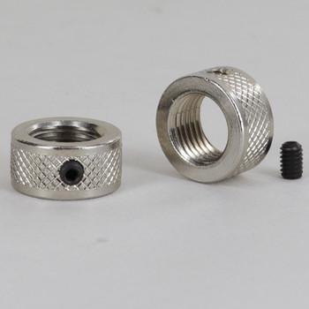 1/4-18 ips Diamond Knurled Round Locknut with Set-Screw - Nickel Plated
