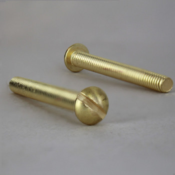 1-1/2in Long X 8/32 Threaded Solid Brass Slotted Round Head Screw