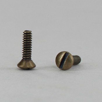 1/2in Long X 6/32  Antique Brass Finish Slotted Head Switchplate Screw