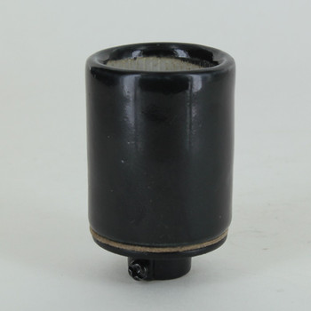 1/4ips Cap - Grounded Black Glazed Porcelain E-26 Lamp Socket with Screw Terminal Wire Connections