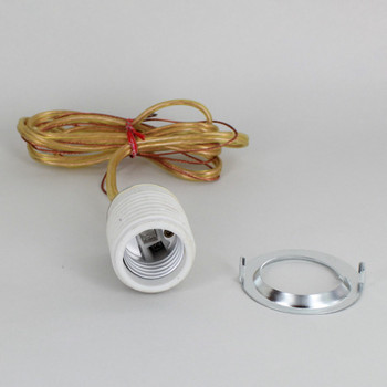 Leviton - E-26 Threaded Porcelain Grounded Socket with 42in. 18/2 SPT-1 Gold Wire Leads