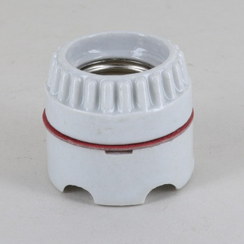 White Glazed E-26 Socket Two-Piece Keyless Ring-Type Lamp Socket with Screw Terminal Wire Connections
