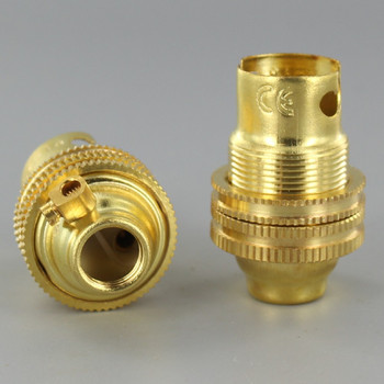 B-15 Unfinished Brass Lamp Holder with Shade Ring and Grounding Terminal. 1/8ips Thread