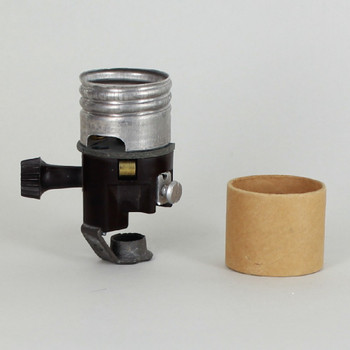 Leviton - 2-7/16in. E-26 Rem. Knob Socket with Removable One Leg Hickey and Cardboard Insulator