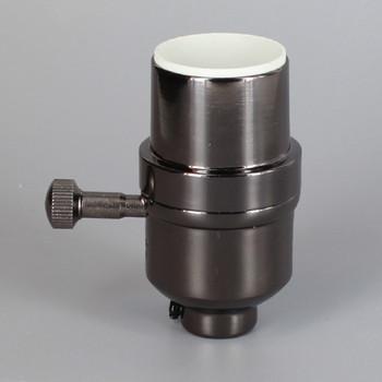 Black Finish Aluminum Modern Style 3-Way Turn Knob Lamp Socket with 1/8ips Threaded Cap