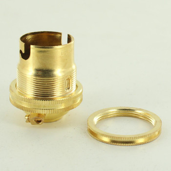 Unfinished Brass European Bayonet B22 Base Solid Brass Lamp Socket with Shade Ring
