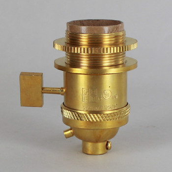 Unfinished Brass Uno Threaded Single Turn Square Key Socket Includes Knurled and Smooth Shade Ring