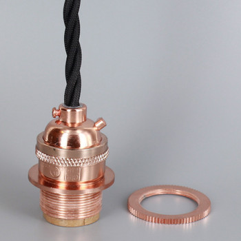 Copper Finish Metal E-26 Base Keyless Lamp Socket Pre-Wired with 6Ft Twisted  Black Nylon Overbraid