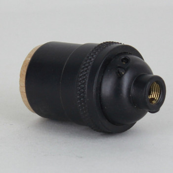 Black Powdercoated Heavy Turned Brass Keyless E-26 Socket with 1/8ips. Cap and Ground Terminal