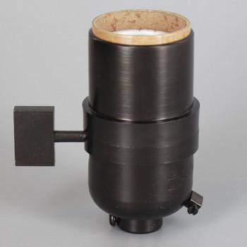 1-Way Square Key Smooth Shell Cast Lamp Socket - Black Finish