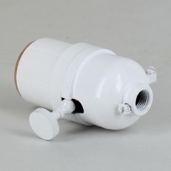 3-Way Round Key Smooth Shell Cast Lamp Socket - White
