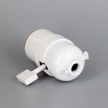 1-Way Square Key Smooth Shell Cast Lamp Socket - White Finish