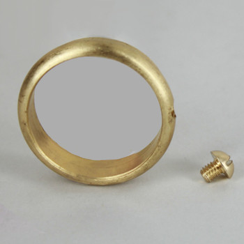 1-1/8in. Slip Ring with Side Screw - Unfinished Brass