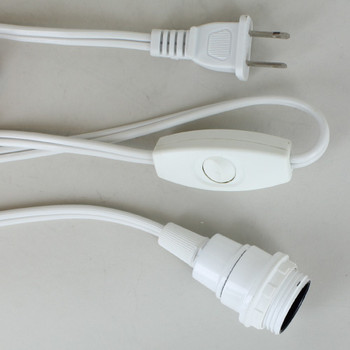 12ft. White E-12 Base Threaded Skirt Lamp Socket Cordset with Rotary Switch.
