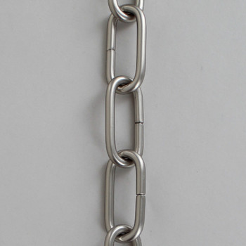 3/16in Thick Brass Large Oval Lamp Chain - Satin/ Brushed Nickel Finish