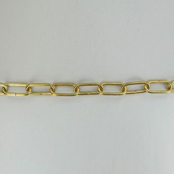 3/16in Thick Brass Large Oval Lamp Chain - Polished Brass Finish
