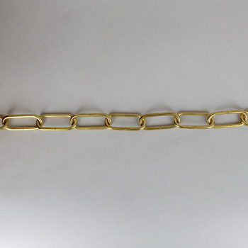 1/8in Thick Oval Lamp Chain - Unfinished Brass