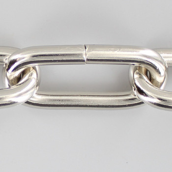 1 Gauge (5/16in.) Thick Steel Oval Lamp Chain - Nickel Plated Finish