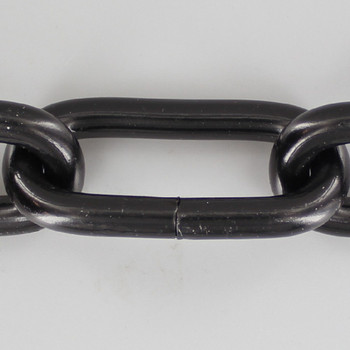 1 Gauge (5/16in.) Thick Steel Oval Lamp Chain - Black Powdercoat Finish