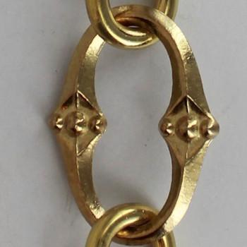 Cast Brass Cross Oval Lamp Chain - Polished Brass Finish