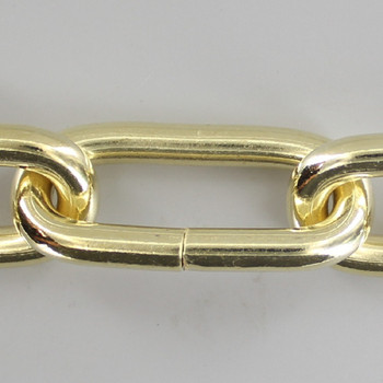 1 Gauge (5/16in.) Thick Steel Oval Lamp Chain - Brass Plated Finish