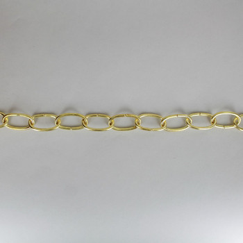 1/8in. Thick Solid Brass Oval Lamp Chain - Unfinished Brass