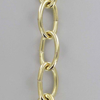 3 Gauge (1/4in.) Thick Steel Oval Lamp Chain - Brass Plated Finish