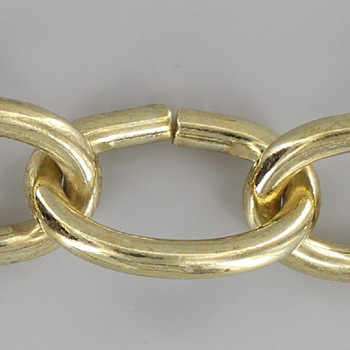 7 Gauge (3/16in.) Thick Plated Steel Oval Lamp Chain - Brass Plated Finish