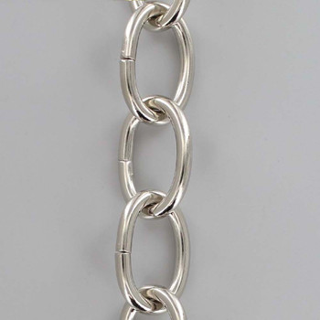 3 Gauge (1/4in.) Thick Steel Oval Lamp Chain - Polished Nickel Plated Finish