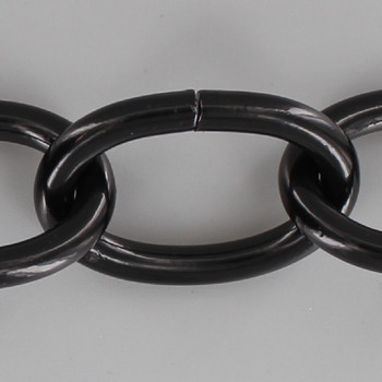 7 Gauge (3/16in.) Thick Plated Steel Oval Lamp Chain - Black Powdercoat Finish