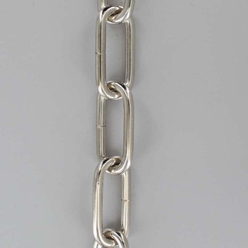 3 Gauge (1/4in.) Thick Steel Long Oval Lamp Chain Polished Nickel Finish