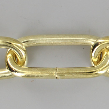 3 Gauge (1/4in.) Thick Steel Long Oval Lamp Chain Brass Plated Finish
