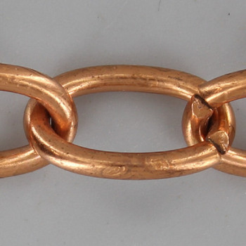 11 Gauge (3/32in.) Thick Steel Small Oval Lamp Chain - Copper Plated Finish
