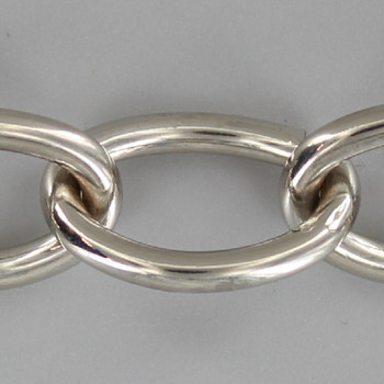 11 Gauge (3/32in.) Thick Steel Small Oval Lamp Chain - Nickel Plated Finish