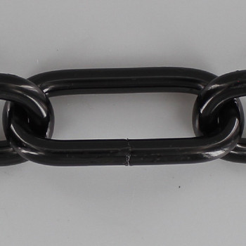 3 Gauge (1/4in.) Thick Steel Long Oval Lamp Chain - Black Powdercoat Finish