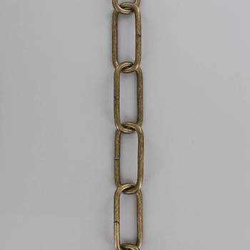 7 Gauge (3/16in.) Thick Steel Long Oval Lamp Chain - Antique Brass Plated Finish