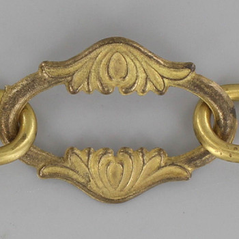 1/16in. Thick Cast Brass Floral Leaf Lamp Chain - Unfinished Brass