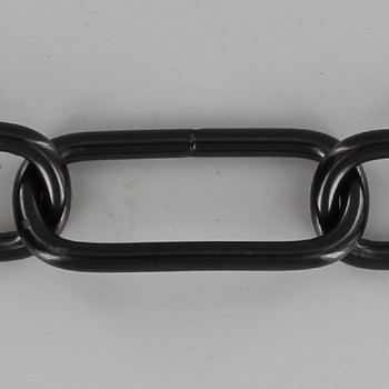 7 Gauge (3/16in.) Thick Steel Long Oval Lamp Chain - Black Powdercoat Finish