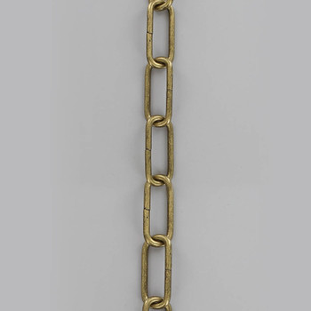 9 Gauge (1/8in.) Thick Steel Small Elongated Oval Lamp Chain - Antique Brass Plated