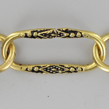 11 Gauge (3/32in) Thick Steel Spanish Style Lamp Chain with Black Detail - Unfinished Brass