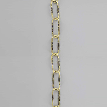 11 Gauge (3/32in) Thick Steel Light Duty Spanish Style Lamp Chain - Brass Plated