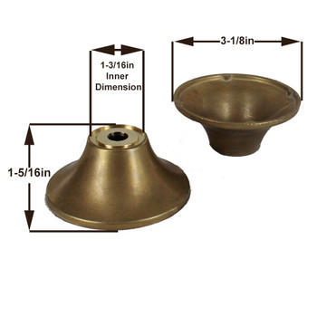 3-1/8in. Diameter Cast Unfinished Brass Tappered Cup with 7/16in Slip Center Hole.