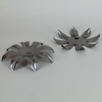 2-7/8in. Unfinished Steel 8 Leaf Bobesche with Crystal Pin Holes