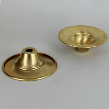 3-1/8in. Unfinished Spun Brass Trumpet Bobesche with Rolled Edge