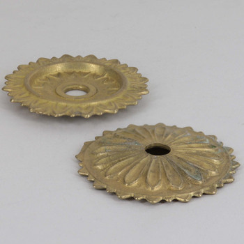 60mm (2-3/8in) Diameter Flat Pointed Petal Bobesche with 1/8ips Slip - Unfinished Brass