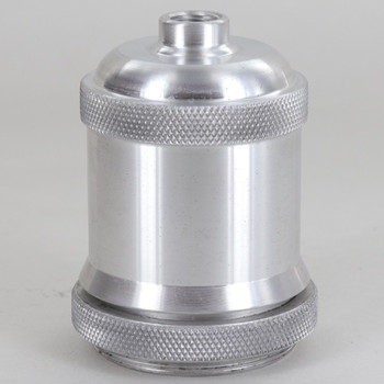 Threaded Skirt Socket Cup With Shoulder and Knurled Shade Ring - Unfinished Aluminum