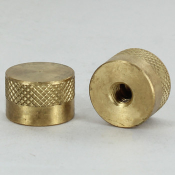 1/4-27 UNS - 3/4in x 1/2in Diamond Knurled Cylinder  Finial - Unfinished Brass