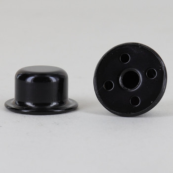 1/4-27 UNS - 7/8in Tall Top Hat Finial - Black Powdercoated