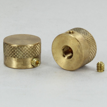 1/4-27 UNS - 3/4in x 1/2in - Diamond Knurled Anti-Thef Cylinder Finial - Unfinished Brass